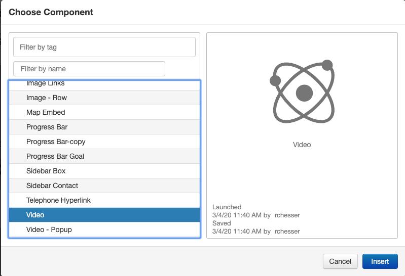 component selector menu